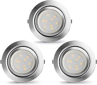 LAMPAOUS - Lámpara de armario LED empotrada, foco empotrado, foco empotrado, luz de escaparate, luz empotrable, luz blanca...