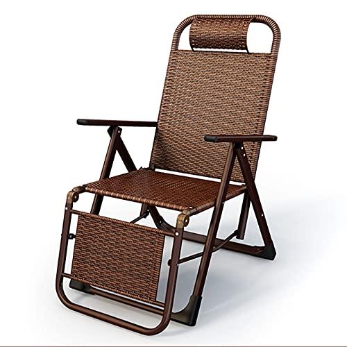 ERLAN Tumbonas Silla Plegable Reclinable de Ratán, Sillones Chaise Longue de Bronce con Posiciones Ajustables, Sillas Zero Gravity para Jardín, Patio, Playa (Color : Rattan Chair)