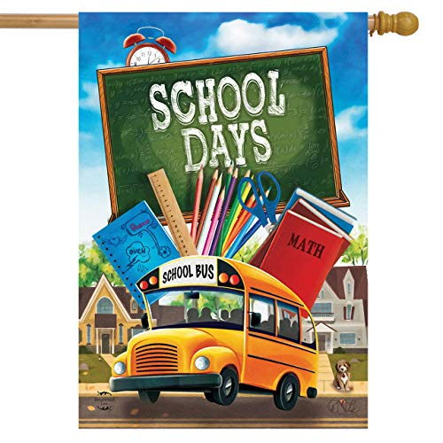 Briarwood Lane School Days Autumn House Flag Bus Books Fall Chalkboard 28' x 40'