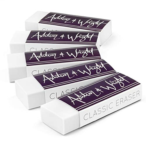 Ashton and Wright - Classic Eraser - Latex Free Plastic Rubber - Pack of 5 White