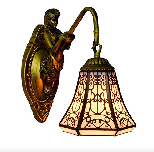 Estilo árabe europeo Tiffany vidrieras comedor dormitorio bar pasillo balcón lámpara de pared-1 lámpara