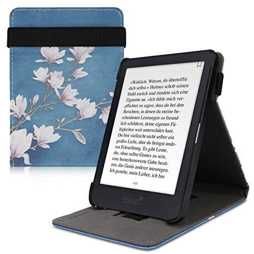 kwmobile Schutzhülle kompatibel mit Tolino Shine 3 - Hülle e-Reader mit Schlaufe Ständer - - Magnolien Taupe Weiß Blaugrau