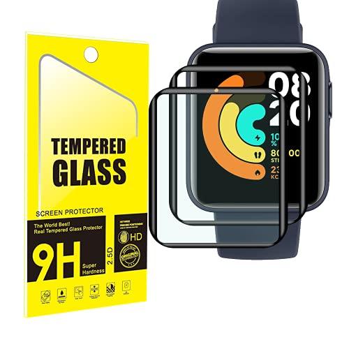 YISPIRIN Protector de pantalla compatible con Xiaomi Mi Watch Lite [2 unidades], 3D borde protector de pantalla, cobertura completa, antiarañazos, protector de pantalla para Xiaomi Mi Watch Lite