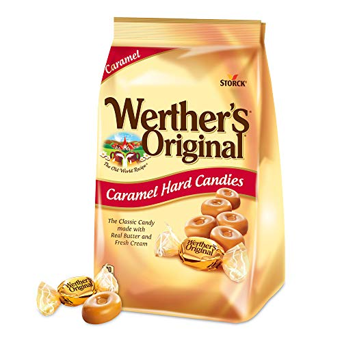 WERTHER'S ORIGINAL Sugar Free Caramel Hard Candy, Sugar Free Candy, Bulk Candy, Caramel Candy, Individually Wrapped Candy, Low Carb Candy, 2.75 Ounce Bags (Pack of 12)