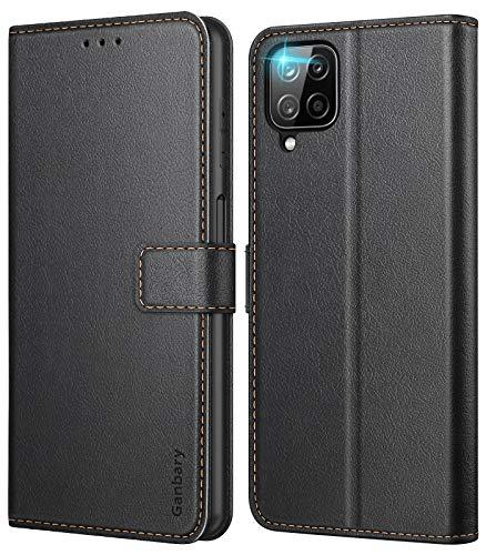 Ganbary Handyhülle für Samsung Galaxy A12 /M12 Hülle, Premium Leder Tasche Flipcase [Kartenschlitzen] [Magnetverschluss] [Standfunktion] kompatibel mit Samsung A12 Schutzhülle, Schwarz