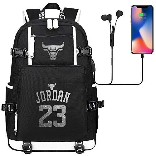 DDDWWW Herren Rucksack Kinder Sporttasche Rucksack University Schoolbag Basketballspieler Star Michael Jordan Nr. 23 L (#01)