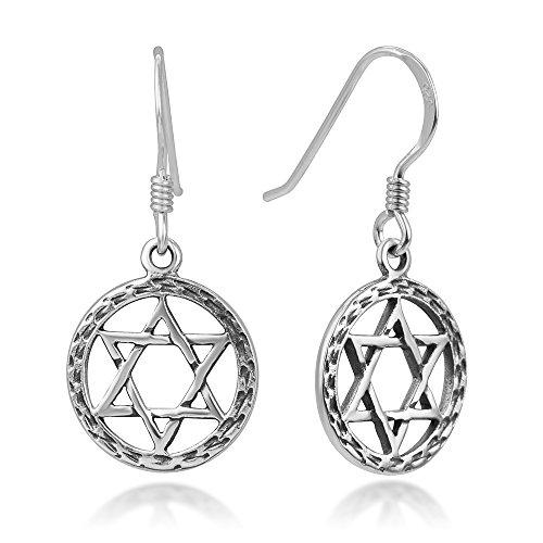 SUVANI - Pendientes de gancho de plata de ley 925 oxidada, diseño de estrella geométrico y hexagrama abierto, 1.14 pulgadas