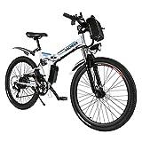 """ANCHEER Bicicleta eléctrica de montaña, 26""""/27,5 Pulgadas, Bicicleta eléctrica con batería de Litio de 8 Ah/10 Ah/12,5 Ah y Marchas Shimano de 21 velocidades (AE3 Blanco)"""