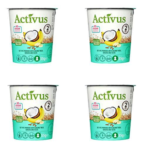 ACTIVUS - Gachas de avena y centeno con plátanos, 55 g, 4 unidades