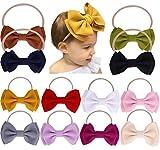 Baby Girl Nylon Headbands Newborn Infant Toddler Bow Hairbands Soft Headwrap Children Hair Accessories (beige/gray/purple - 12pcs)