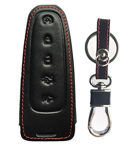 KAWIHEN Leather Key Fob Case Compatible with Ford Lincoln C-Max Edge Escape Expedition Explorer Flex Focus Taurus MKS MKT MKX M3N5WY8609 7812A-5WY8609 164-R8092