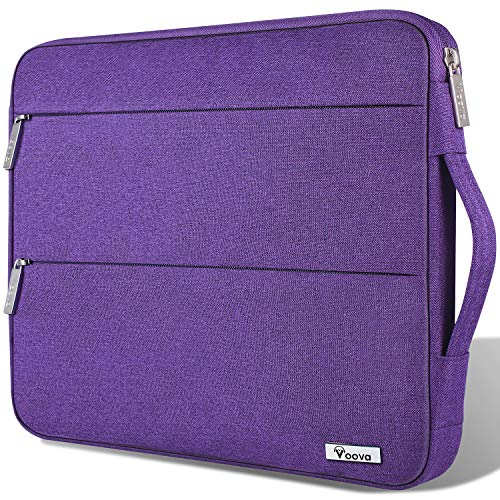 Voova Laptop Sleeve Case 11 11.6 12 Inch with Handle Compatible MacBook Air/Chromebook/IPad pro 12.9/Surface Pro 7 6 /, Waterproof Protective Cover Bag 2 Accessory Pockets for women lady girl-Purple