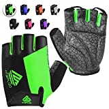 HTZPLOO Bike Gloves Cycling Gloves Biking Gloves for Men Women with Anti-Slip Shock-Absorbing Pad,Light Weight,Nice Fit,Half Finger Bicycle Gloves (Green,Small)