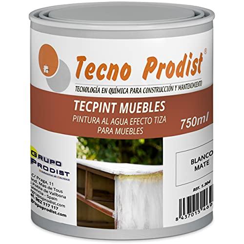 TECPINT MUEBLES de Tecno Prodist - 750 ml (Blanco Roto) Pintura a la Tiza - Ideal para pintar Muebles - Pintura al Agua - Calidad Profesional - Fácil de aplicar