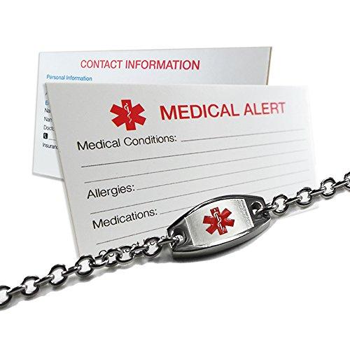 My Identity Doctor - Medical Alert Bracelet for Women Men Kids - Custom Engraving for Alzheimers, Diabetes, Seizures, Blood Thinners, Stainless Steel 9 Inches