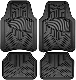 SMARTLINER Floor Mats 1st Row Liner Set Black for 2014-2019 Ford Transit Connect with Vinyl Flooring and Floor Posts Only