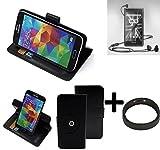 K-S-Trade® Case Schutz Hülle Für Marshall London + Bumper Handyhülle Flipcase Smartphone Cover Handy Schutz Tasche Walletcase Schwarz (1x)