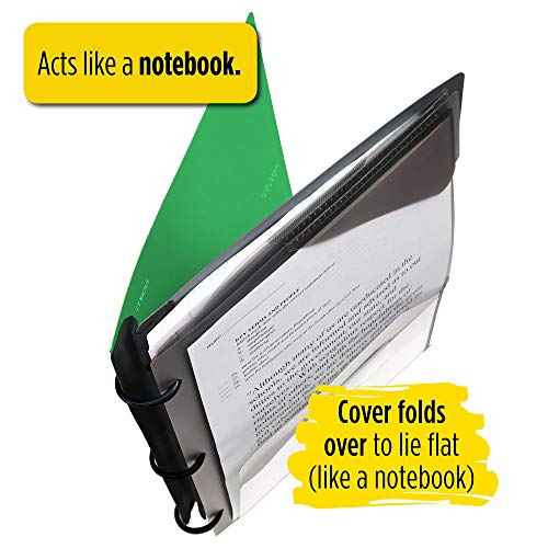 Five Star Flex Hybrid NoteBinder, 1-1/2 Inch Binder with Tabs, Notebook and 3 Ring Binder All-in-One, Green (72401) Photo #7