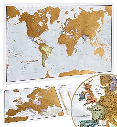 Weltkarte Zum Rubbeln mit Geschenkröhre - 59 (B) x 42 (H) cm + Europa-Rubbelkarte - Maps International - Über 50 Jahre in der Kartenherstellung