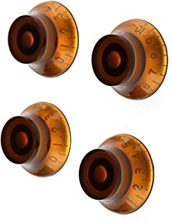 Guitar Knobs, YINGXIANG Electric Guitar Knobs Amber Tone Volume Speed Control Dome 4 Piece
