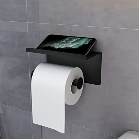 KERMEO Porte-Papier Hygiénique avec Etagère pour Téléphone, Distributeur de Papier Hygiénique Mural sans Perçage, Auto-Adhésif et Antirouille, Porte-Serviettes en Papier pour Salle de Bain et Cuisine