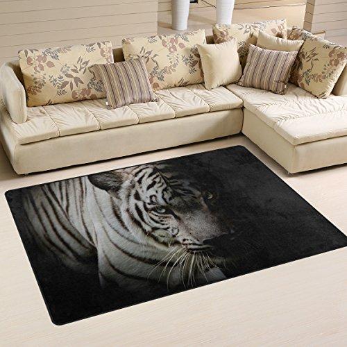 Coosun Tigre blanc isolé sur fond noir Zone Tapis Moquette antidérapant Tapis de sol Paillasson pour salon Chambre à coucher 78.7 x 50.8 cm, Tissu, multicolore, 31 x 20 inch