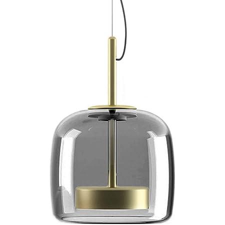 MZStech Nouveau Design Moderne Luminaire Suspension, d'or  Métal Et GrisAbat-jour en verre Lumière suspendue, Perles de lampe à LED Lustre (Gris, B)