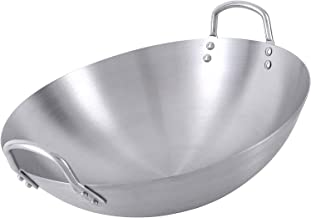 Stainless Steel Wok Pan, Thickening Stainless Steel Pot with Fir Cover Large Wok, Hand Hammered Chinese Traditional Wok, O...