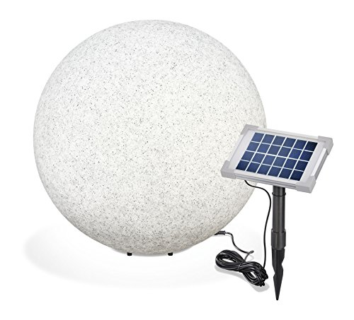 Solar Steinleuchtkugel Mega Stone 50cm, echtes Steindesign, Dauer- oder Wechsellicht, 8 Lichtfarben inkl. warm- und kaltweiß, 106022