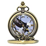Bald Eagle Pocket Watch - Bronze Look Casing Timepiece Roman Numeral Numbers