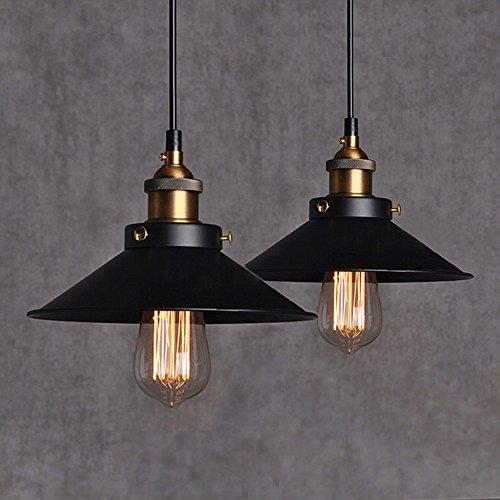 2Pcs Vintage Retro Pendelleuchte Lampenschirm Hängeleuchte Retro Deckenleuchte Lackiertem Edison Loft Eisen Regenschirm Lampenschirm Land Art Lampe für Esszimmer, Wohnzimmer, Restaurant