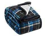 "Ashford & Brooks Printed Plush Sherpa-Lined Mink Fleece Cozy Throw Blanket 50"" x 60"" - Black/Blue Plaid"