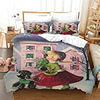 3D羽毛布団カバーセット寝具セットジッパーデザイン3Dデジタルパターン 200x200cm 漫画の小さな女の子 豪華なソフトマイクロファイバースリーピース羽毛布団カバーと枕カバー