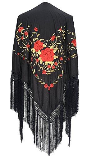 potente para casa La Senorita Bufanda Bordada Bufanda De Manila Flamenca Negro Rojo Dorado Grande