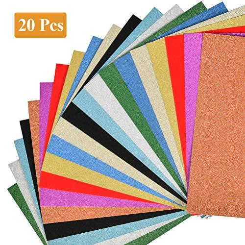 WOWOSS 20 Blatte Glitter Cardstock Papier Schein A4 Karte für Diy Material Handwerk Scrapbook