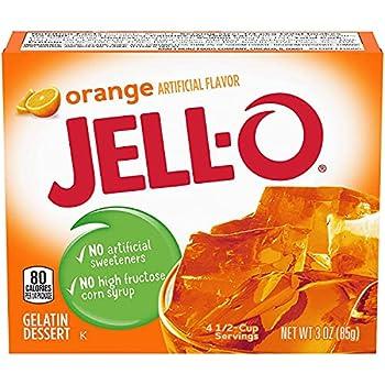 JELL-O Jello Gelatin Dessert 3 Ounce Boxes Pack of 4  Orange