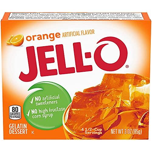JELL-O Jello Gelatin Dessert 3 Ounce Boxes Pack of 4 (Orange)