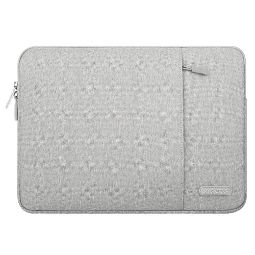 MOSISO Laptop Sleeve Bag Compatible with 13-13.3 inch MacBook Pro, MacBook Air, Notebook Computer, Water Repellent Polyester Vertical Protective Case Cover with Pocket, Gray