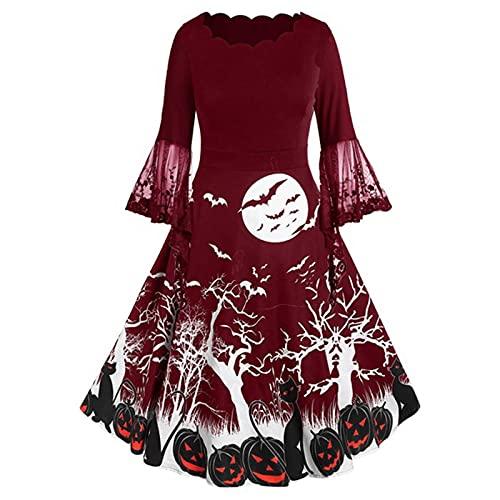 Halloween Dresses for Women Lace Trumpet Sleeve Wedding Guest Dress Diablo Printed Waisted Skater Dress Wine