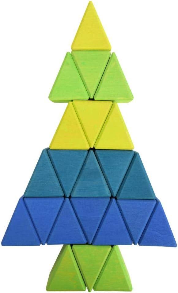 Bouwsteenspeelgoed, duurzaam puzzelspeelgoed, fijn gepolijst oppervlakveiligheid voor kinderen(Colorful triangle blocks) Colorful triangle blocks