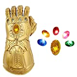 Infinity Gauntlet Thanos Gloves LED Light Up Removable Gemstone Cosplay Halloween Prop PVC Adults