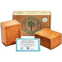 Grüne Valerie® Jabón de Alepo Original 2 x 200g + 40/60% Aceite de Laurel/Aceite de Oliva - Shampoo Jabón PH Valor 8 - Desintoxicantes - producto natural vegano hecho a mano - 6 años de maduración!