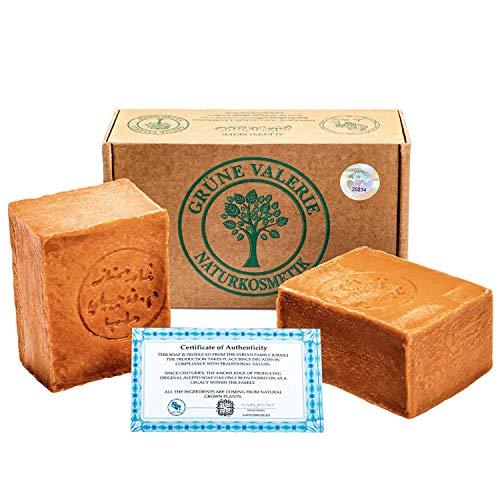 Savon d'Alep Grüne Valerie® Original Set 2 x 200g (400g) avec 40%/60% d'huile de laurier/huile d'olive, valeur PH 8 Detox, fait a la main, mûri pendant 6 ans