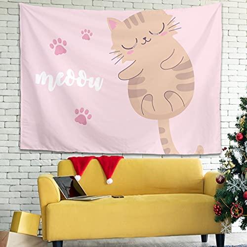 Ballbollbll Tapiz con diseño de animales de dibujos animados para colgar en la pared, cortina para colgar en la pared, blanco 149,8 x 129,5 cm
