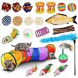gioco per gatti tunnel per gatti 22 pezzi, wuudi giocattoli con piume tunnel erba gatta molle palline topi campane interattivi con gattini da interni