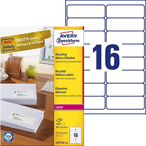 AVERY Zweckform LR7160-100 Recycling etiketten (Papier mat, bedrukbaar, zelfklevend, ideaal voor DIN B6/C6 Briefkops, 2.100 etiketten op 100 vellen) natuurlijk wit Format 99,1 x 33,9 mm wit