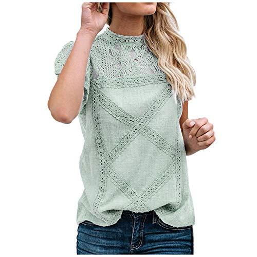 Womens Lace Patchwork Flare Ruffles Short Sleeve/Sleeveless Cute Floral Tee Shirt Blouse Top Tunic D Green