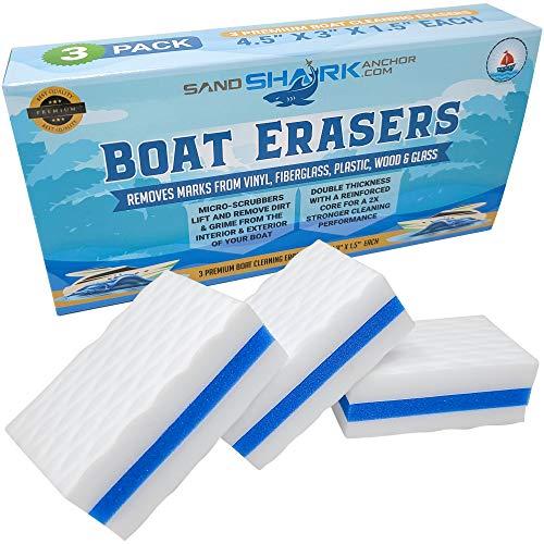 SAND SHARK SANDSHARKANCHOR.COM Premium Boat Erasers 3 Pack Removes...