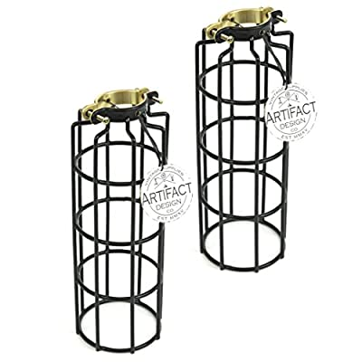 Set of 2 Industrial Vintage Style Metal Wire Cylinder Cage for Pendant Style Lamps ,10 Inch Long, Black