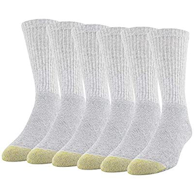 Gold Toe Men's Cotton Crew 656s Athletic, Grey Heather (6 Pack), Shoe Size: 6-12.5 (Sock Size: 10-13)